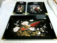 "Set of 3 Black Trays Wood with Painted Peacocks Japan Decorative Serveware 17"""