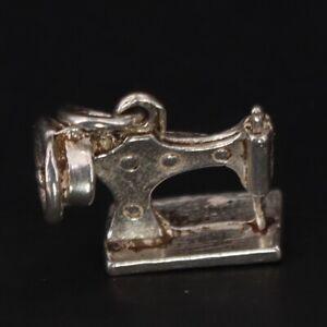 VTG Sterling Silver - Antique Sewing Machine Fashion Bracelet Charm - 1g