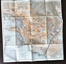 1909 ANTIQUE COLOR CITY MAP PLAN  of  GENOA, GENOVA, ITALY ~ Baedeker Authentic