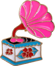 3651 Pink Phonograph Turntable Record Player Music Enamel Pin Badge Button Lapel