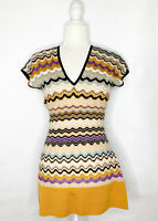 M Missoni Size 6 Chevron Wool Blend Knit Top V-Neck Cap Sleeve Zig Zag Italy