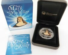 2010 SAINT MARY MACKILLOP COLOURED UNC 99.99% SILVER $1, BOX AND COA.