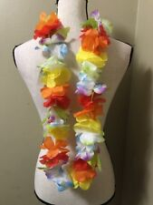 "Jumbo 3"" RAINBOW Flower LEI Hawaiian Luau Beach Party Hula Dancer costume"