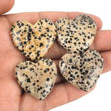 4 Pcs Top Natural Dalmation Jasper 30mm-32mm Heart Loose Cabochon Gemstones