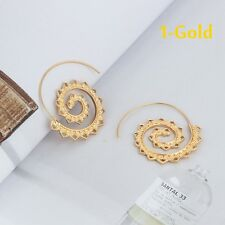 Vintage Womens Lady Circles Round Spiral Brass Tribal Hoop Earrings Jewelry 1-gold