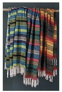 Green Blanket Throw Rug stripe Large Fair Trade Handmade India Cotton New