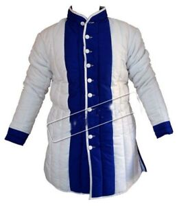 Medieval Armour Thick padded White And Blue Gambeson play movies theater custome