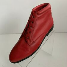 Danexx Womens Austin Ankle Boots Red Leather Lace Up Size 10M