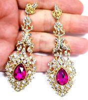 Chandelier Earrings Rhinestone Austrian Crystal 3.2 in Hot Pink