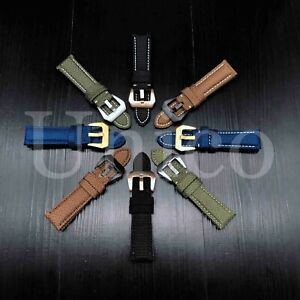 22-26 MM Watch Black Leather Canvas Strap Band Replacement Fits For Panerai 2021