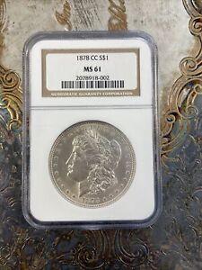 1878-CC Morgan Silver Dollar NGC MS61