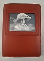(NEW) 4x6 Photo Album With Wallet size ID Holder Premium Genuine Leather Tan