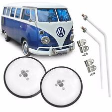 VW Side Mirror Door VIEW Round Type 2 Bus T2 Microbus Transporter 2pcs White