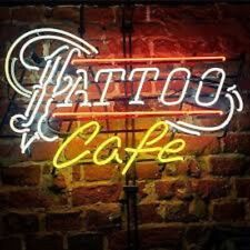 "Neon Light Sign 24""x20"" Tattoo Cafe Open Beer Bar Artwork Decor Lamp"