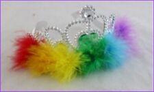 Rainbow Gay Pride Mardi Gras Silver Plastic Tiara with soft Rainbow Feather Trim
