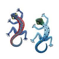 2x Iron Gecko Lizard Home Wall Hanging Decor Indoor Outdoor Garden Sculpture NEW