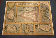 Maps of Islands of Sicily, Malta, Sardina, Corfu, Elba & Zerbia by Ortelius 1595