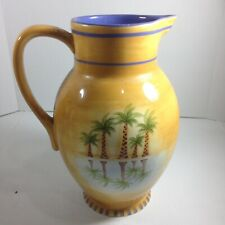 Liz Ross Clay Art Mirage Palm Hand Painted StoneLite Palm Pitcher 96 ounces