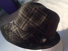 Ben Sherman Hat Fedora Gray Plaid Wool Blend L/XL