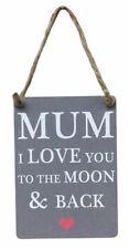 MAMMA I LOVE YOU to the Moon & Indietro Mini Metallo Segno Regalo Shabby Chic Vintage Nuovo