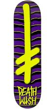 DEATHWISH  GANG LOGO PURPLE YELLOW SKATEBOARD DECK 7.75 INCH FREE GRIP + POST
