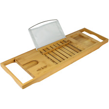 Extendable Bamboo Bath Caddy Adjustable Home Spa Wooden Bath Tray M&W