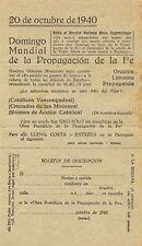 Boletín de inscripción. Domingo Mundial de Propagación de la Fe.
