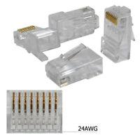 100 pieces RJ45 8P8C CAT5E Modular plug ethernet gold plated network connector