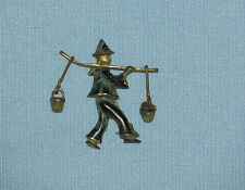 Vintage BROOCH ~ Man carrying 2 dangling water buckets ~ Made in Germany ~ Blue
