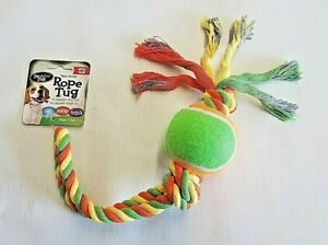 "2 Knot Dog Toy Rope & Ball BOW WOW PALS Play Chew Fetch 14"" Satisfies Urge"