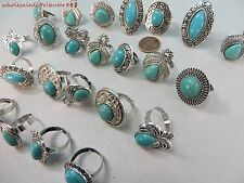 wholesale lot of 15 antique style jewelry turquoise stone fashion costume rings
