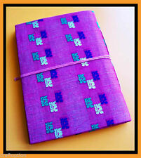 Hand made paper journal diary with petals embedded brocade hard cover from India