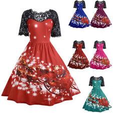 Women Christmas Santa Plus Size Swing Dress Party Rockabilly Xmas Dresses S-3XL