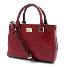 $498 NWT Michael Kors Kellen Embossed Leather Satchel Crossbody Bag - Cherry XS
