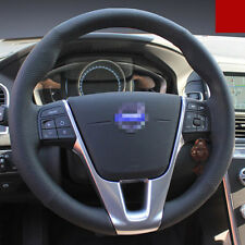 For Volvo XC60 Hand-stitched Interior Car Steering Wheel Cover Black Leather