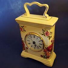 """Cottage Rose"" Porcelain Mantel Clock. Pink Red Yellow Roses. Quartz. Works"