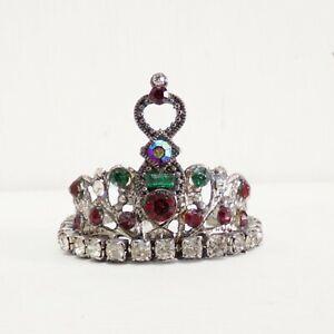 Filigree style rhinestones Crown tiara aged metal saint statue miniature diadem