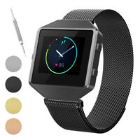 Magnetic Mesh Loop Stainless Steel Watch Band with Metal Frame for Fitbit Blaze