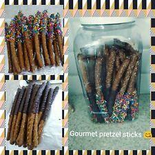 Gourmet pretzel sticks 15pc custom made, Chocolate dipped pretzel stick,