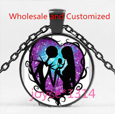 Nightmare Before Christmas Cabochon Black Glass Chain Pendant Necklace HS-6064