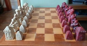Vintage Resin Chess Set With Board.