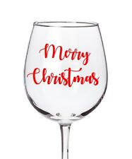 6x Merry Christmas  Wine Glass Vinyl Stickers Decals Baubles