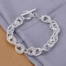 NEW 925 Sterling Silver Plated Fashion Geometry Chain Bracelet