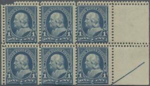 Scott 264, 1c 1895, NH right arrow block of six, double horizontal perforations