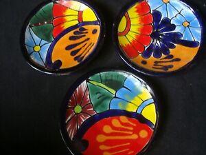 Lot of 3 Small Talavera Dishes plates, Mexican Kitchen Art