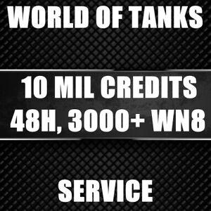 World of tanks (WoT)   Account Boosting   10 MILION CREDITS    3000+ WN8   48H
