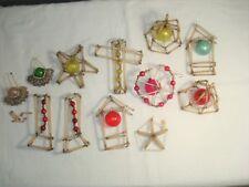 12 Vintage Mercury Glass Bead Wire Christmas Beaded Ornaments