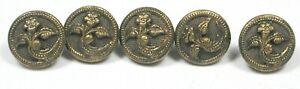 "5 Antique Victorian Metal Buttons Pretty Fiower Design 3/8"""