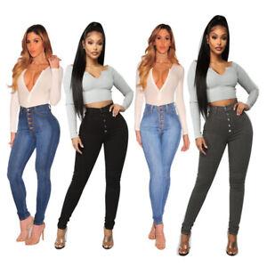 new Womens Ladies High Waist Jeans Tights Pants Denim Trouser