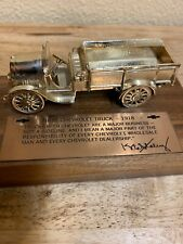 First Chevrolet Truck -1918 Man Or Dealership.toy On With Wood Base